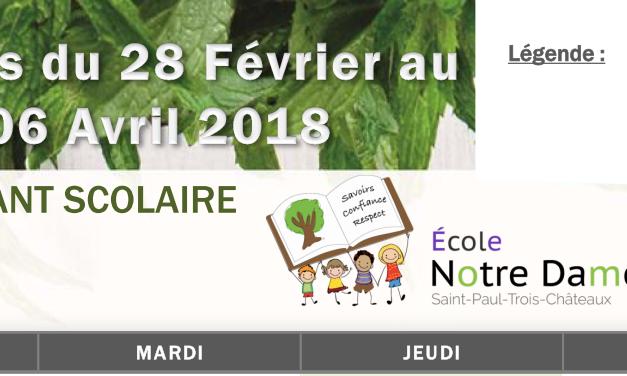 Les menus pour la période scolaire du 28 février au 06 avril 2018 sont disponibles