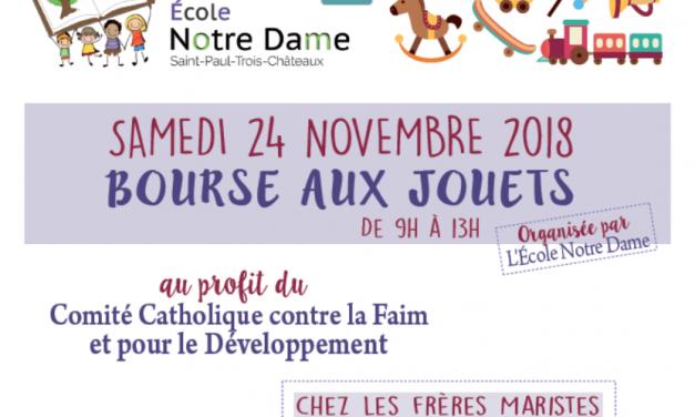 Bourse aux jouets solidaire organisée par l'école Notre Dame au profit du CCFD.
